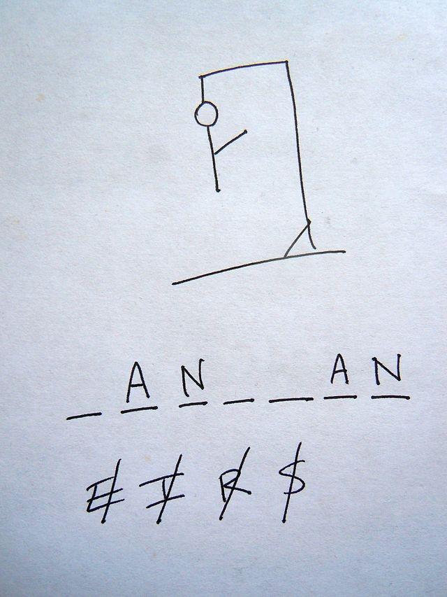 Trò chơi: Hangman (người treo cổ) - Trò chơi tiếng Anh vui nhộn